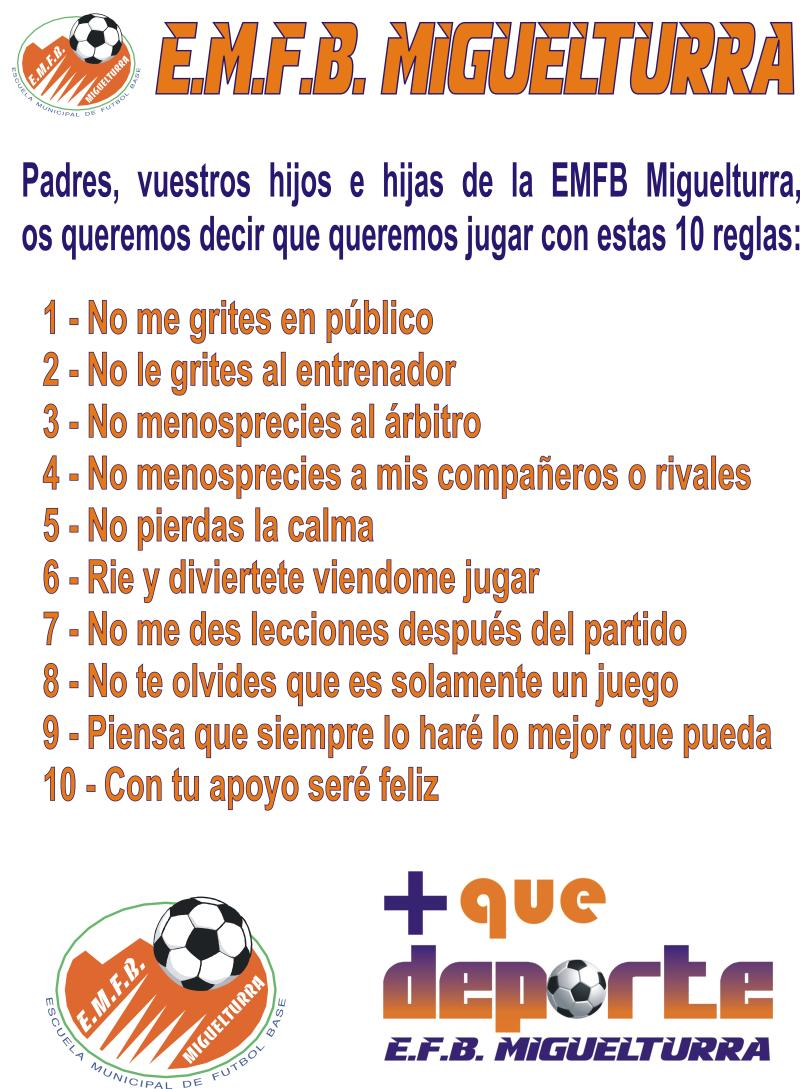Nuestras 10 reglas principales e f b miguel turra for 10 reglas del futbol de salon